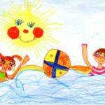Детский рисунок двое с мячом в воде