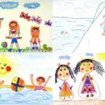 Детский рисунок из четырёx сюжетов