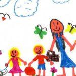 Детский рисунок мама, папа, двое детей на природе