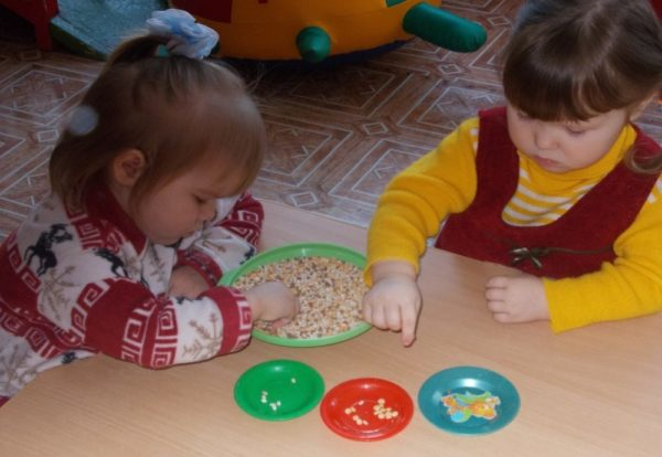 Девочки рассортировывают крупу по тарелочкам