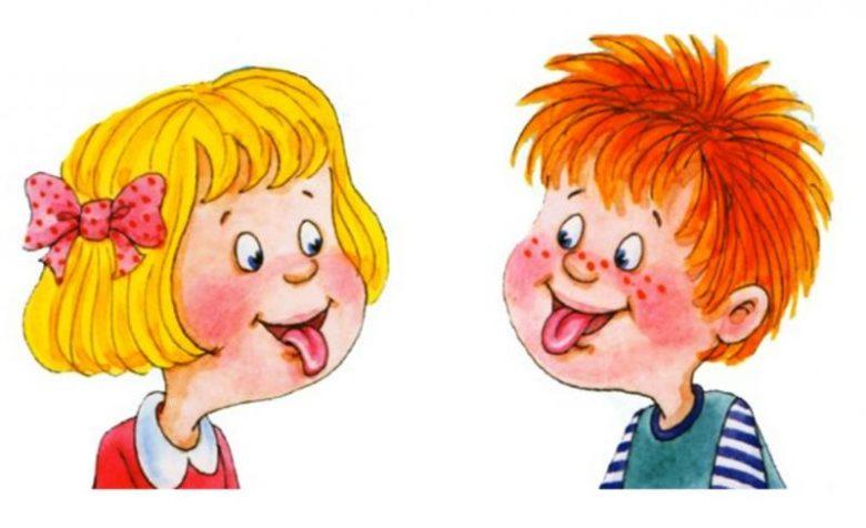 Анимационные девочка и мальчик показывают друг другу язык