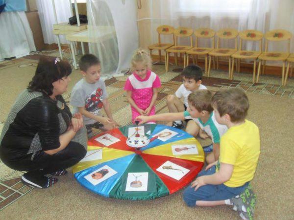 Дети крутят барабан с изображениями музыкальных инструментов