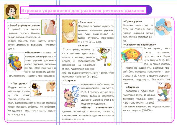 Информация для родителей — упражнения для развития дыхания