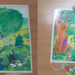 Картинка с зайчиками, спрятанными под цветами и грибами