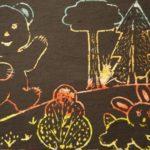 Прогулка в осеннем лесу (трафаретный рисунок)