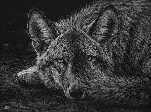 Волк на картине Кристины Пенеску