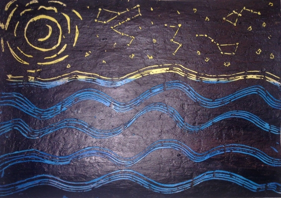 Звёздное небо (волны нарисованы пластиковой вилкой)