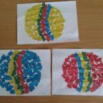 Аппликация Мячик из кусочков цветной бумаги