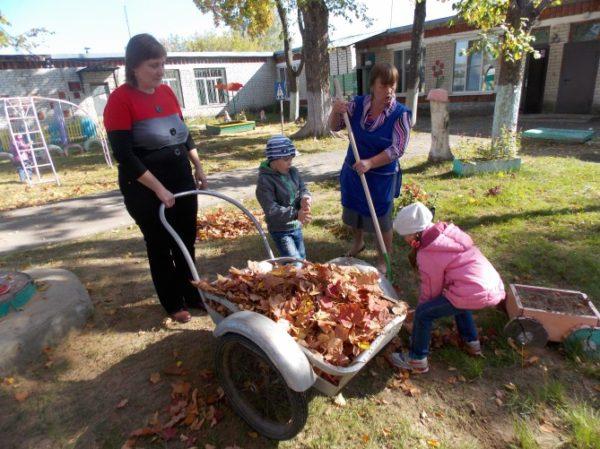Дети нагружают телегу педагога листвой во дворе