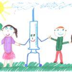 Рисунок: дети держат за руки шприц