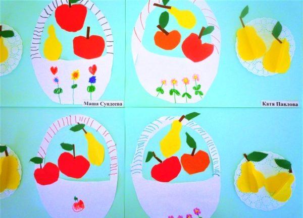 Аппликации корзинки с фруктами