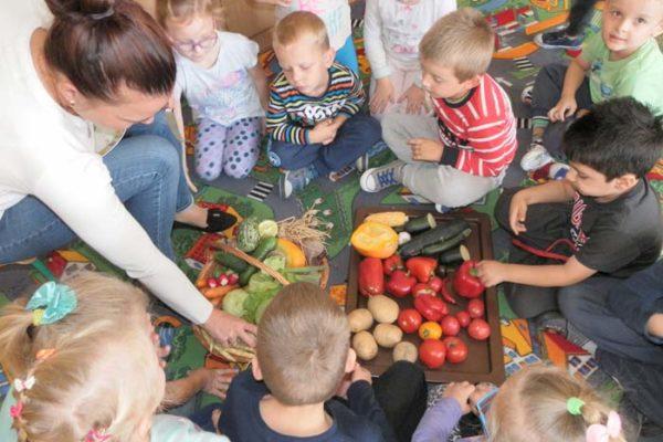 Дети с педагогом разбирают овощи на полу