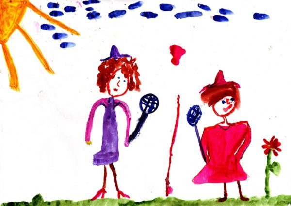 Детский рисунок: два человечка играют в теннис