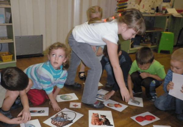 Дошкольники работают с картинками, разложенными на полу