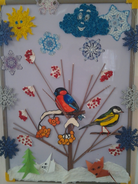 Пример оформления стенда, посвящённого зимнему времени года