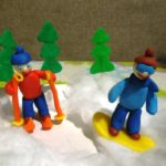 Пластилиновые лыжники