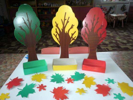 Три игрушечных дерева (красное, зелёное, жёлтое) с коробочками, много листьев этих же цветов