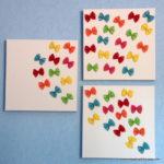 Аппликация: цветные бабочки из макарон