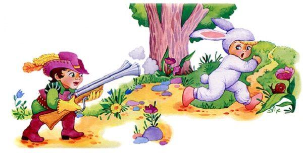 Иллюстрация к считалке про зайчика Ф. Миллера