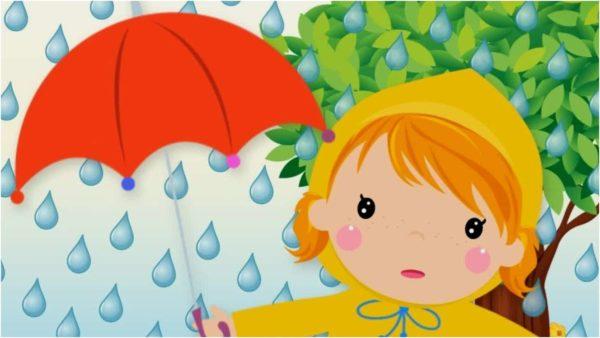 Анимационный ребёнок под зонтиком во время дождя