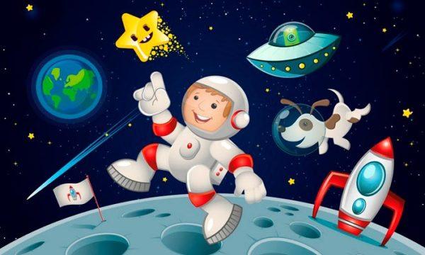 Анимационный космонавт ходит по Луне