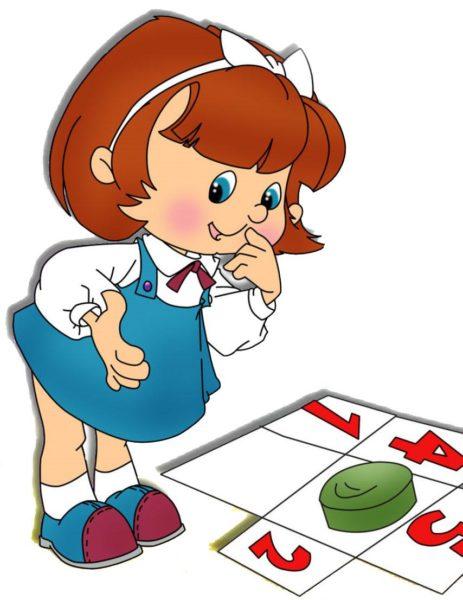 Нарисованная девочка рассматривает цифры