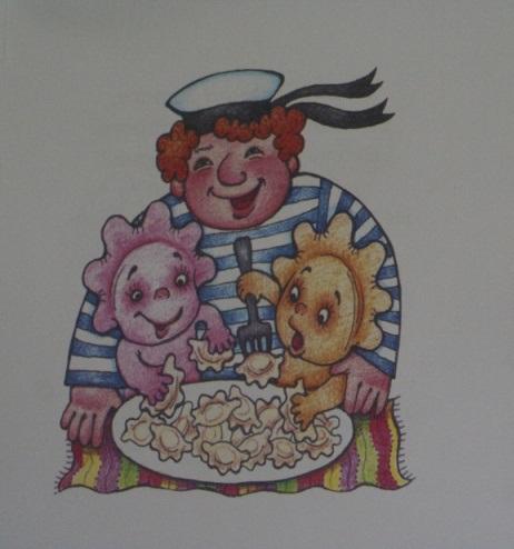 Улыбающийся матрос и два существа, которые едят вареники