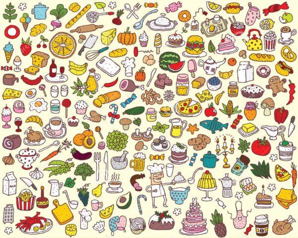 Очень много разных фруктов, овощей, блюд и напитков
