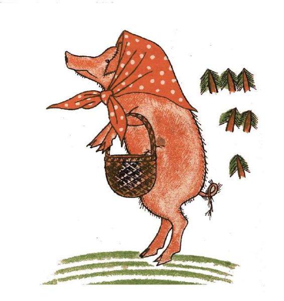 Свинья в платочке и с корзинкой