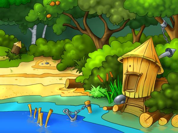 Рисунок избушки, стоящей на брёвнах возле речки