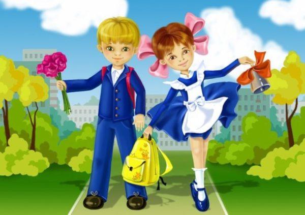Мальчик и девочка в школьной форме с цветами