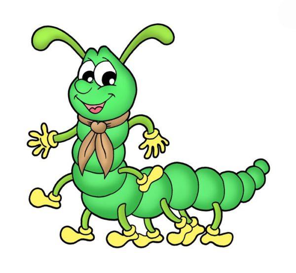 Нарисованная зелёная сороконожка
