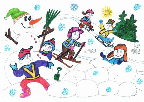 Изображение детей, играющих в зимние забавы