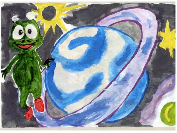 Детский рисунок инопланетянина и Сатурна