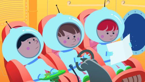 Анимационные космонавты в ракете
