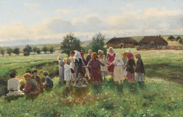 Деревенские жители стоят в кругу на поляне
