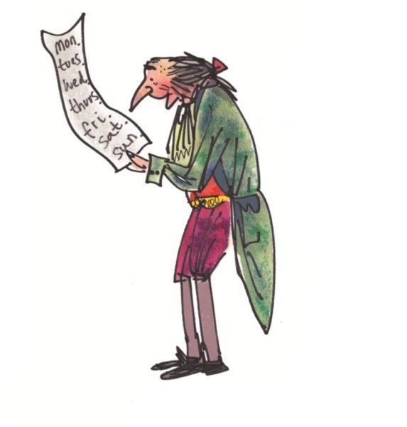Иллюстрация к считалке Соломона Гранди: человек в старинной одежде держит список с названиями дней недели недели