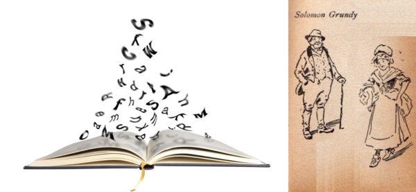 Символическое изображение открытой книги над которой летают английские буквы; иллюстрация к считалке Соломона Гранди
