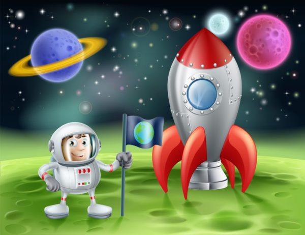 Анимационный космонавт и ракета на Луне