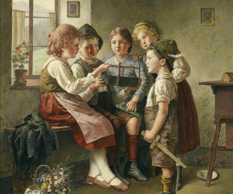 дети и птицы на картине