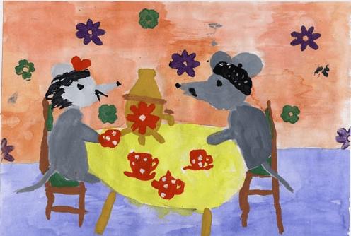 Детский рисунок: две мышки пьют чай