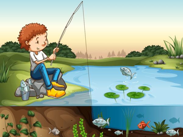 Анимационный мальчик ловит рыбу на удочку