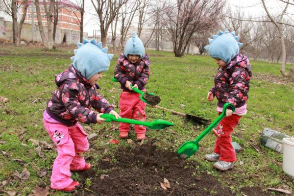 Трое детей копают яму лопатками