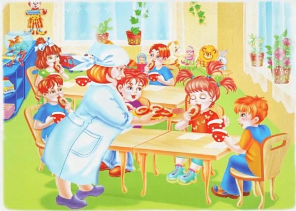Дети кушают в детском саду