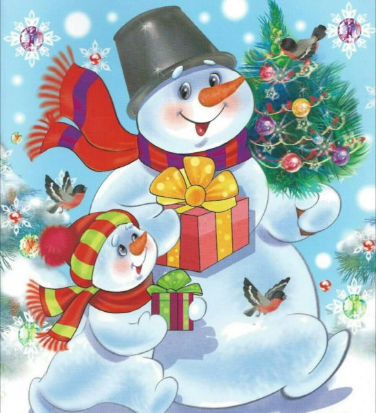 Два снеговика идут с ёлкой и подарками
