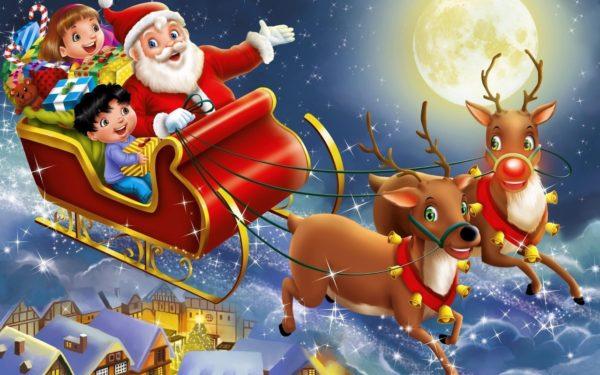 Дети с Санта-Клаусом едут в санях