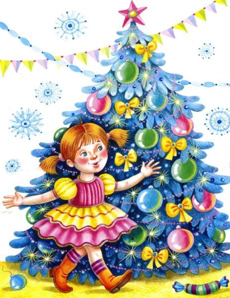 Девочка идёт рядом с новогодней ёлкой