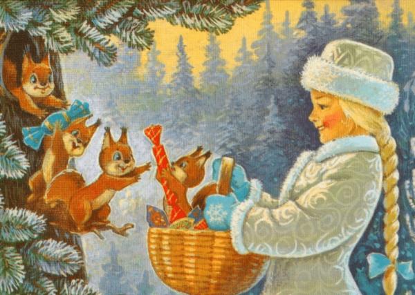 Снегрочка в зимнем лесу дарит белкам конфеты