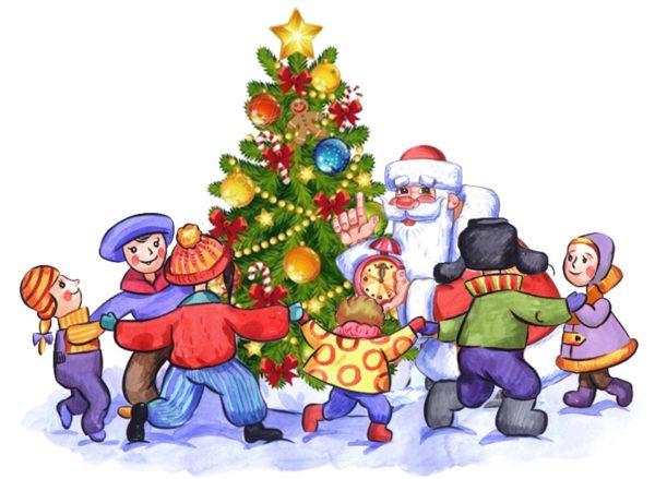 Дети с Дедом Морозом водят хоровод вокруг ёлки