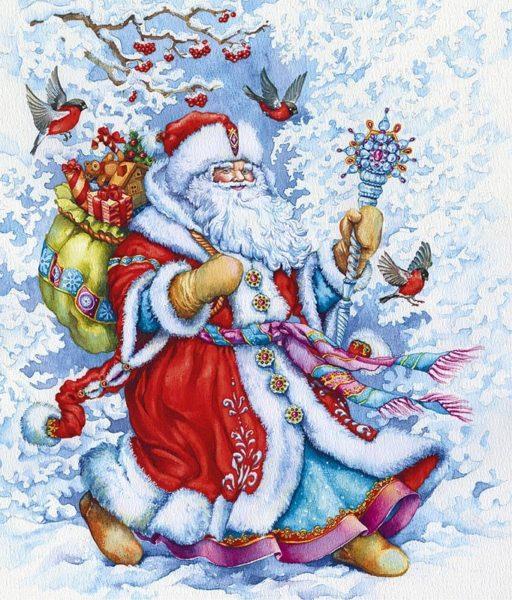 Дед Мороз несёт за спиной мешок с подарками